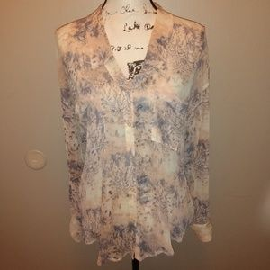 Free People Pink Blue Blouse